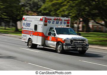 emergencia, médico, movimiento de la falta de definición, exceso de velocidad, servicios, ambulancia