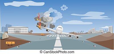 emergencia, situación, choque, avión, aire, crítico, aterrizaje, catástrofe