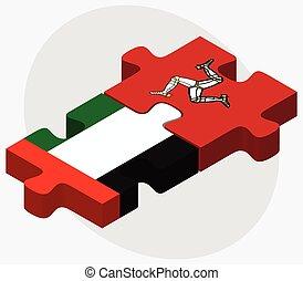 Emiratos árabes unidos e isla de banderas humanas