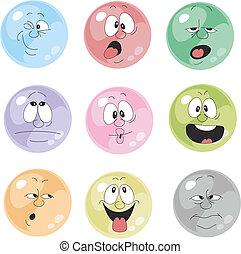 emoción, 001, conjunto, sonrisas, multicolor
