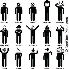 emoción, acción, sentimiento, hombre de la gente
