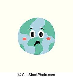 Emoción infeliz del planeta Tierra vector de dibujo animado icono de ilustración plana aislada.