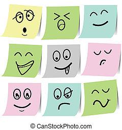 emoción, nota, bosquejo, papersticker