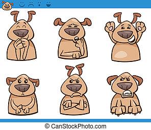 Emociones de dibujos animados de emociones de perros