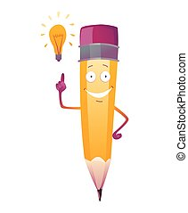 emoji, cara, illustration., brazos, cartoon., nuevo, lápiz, lindo, idea, humanized, carácter