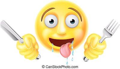 Emoji hambriento de emoticonos