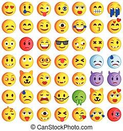 emoji., sonrisa, iconos, conjunto, emoticons.