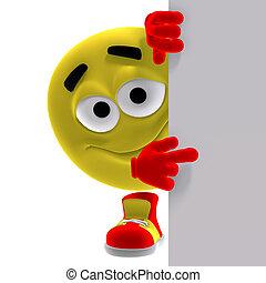 Emoticon amarillo fresco y divertido dice mira aquí