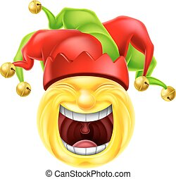 emoticon, bufón, reír, emoji