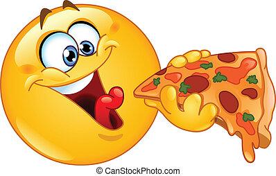 Emoticon comiendo pizza