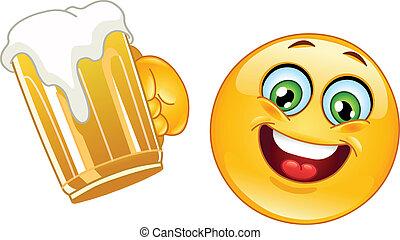Emoticon con cerveza