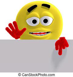 emoticon, divertido, dice, mirada, aquí, amarillo, fresco