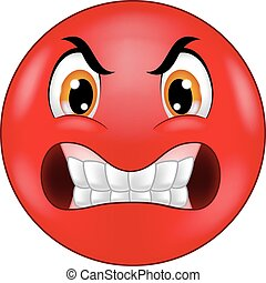emoticon, enojado, smiley, caricatura