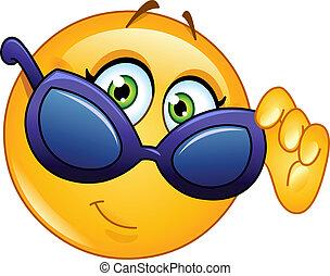 Emoticon mirando gafas de sol