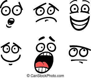 Emoticon o emociones ponen dibujos animados