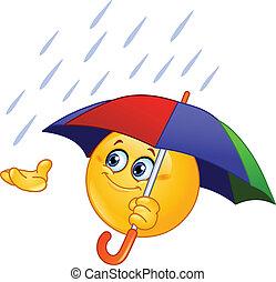 emoticon, paraguas