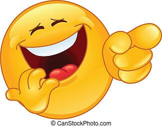 emoticon, reír, señalar