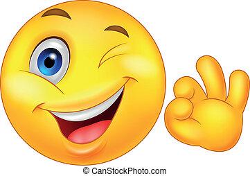 Emoticon sonriente con buen signo