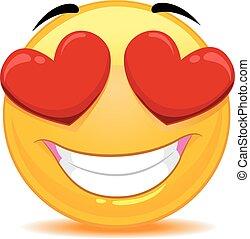 Emoticon sonriente enamorado