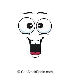 emoticon, sonrisa, de par en par, boca, sorprendido, emoji, abierto