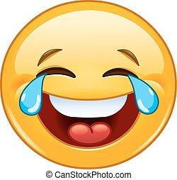 Emoticono con lágrimas de alegría