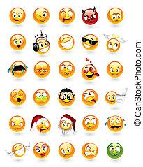 emoticons, conjunto, 30