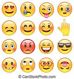 emoticons, conjunto, tela