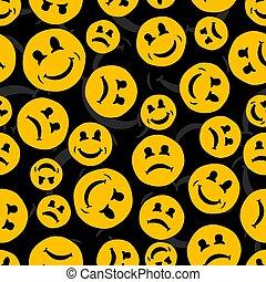 emoticons.vector, patrón, seamless, triste, sonriente, repetir