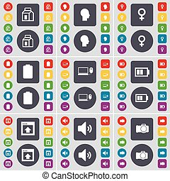 Empaqueta, silueta, símbolo de Venus, batería, portátil, ventana, sonido, símbolo de la cámara. Un gran conjunto de botones planos y de colores para su diseño. Vector