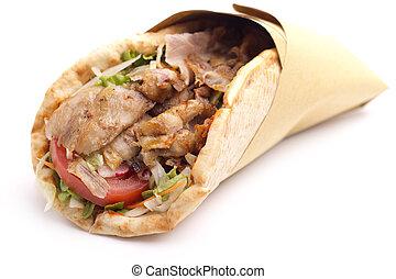 emparedado, kebab, arriba, plano de fondo, cierre, blanco