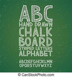 empate, grunge, abc, alfabeto, ilustración, mano, tiza, vector, rasguño, pizarra, pizarra, fuente, tipo, garabato