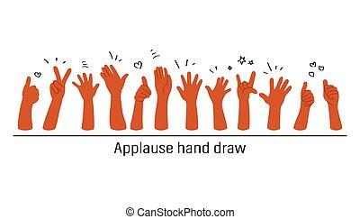empate, plano de fondo, ilustración, aplauso, vector, mano, blanco