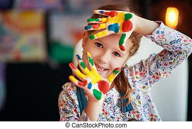 empates, exposiciones, manos, divertido, sucio, reír, pintura, niña, niño