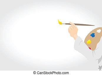 empates, lona., artista, ilustración, mano, vector, cepillo