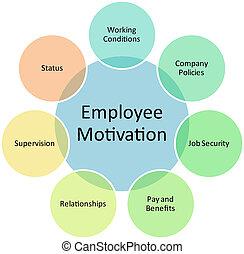 empleado, diagrama, motivación, empresa / negocio
