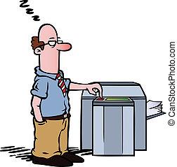 Empleado en la copiadora