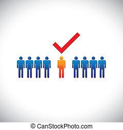 empleado, gráfico, derecho, selecting(hiring), illustration-, employable, candidate., ilustración, marca, persona, trabajo, trabajador, suitable, exposiciones, check(tick)