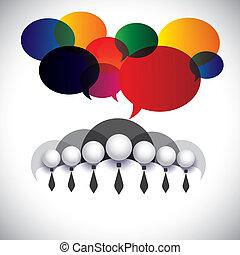 Empleados blancos de comunicación, interacción, vector conceptual. El gráfico también muestra conferencias, redes sociales, ejecutivos  ⁇  administración, miembros de la junta de la empresa, gente corporativa