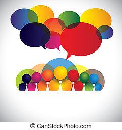 Empleados de la compañía White Collar, ejecutivos raciales múltiples vector conceptual. El gráfico también muestra conferencias, redes sociales, directivos de la empresa miembros de la junta, personal diverso colorido