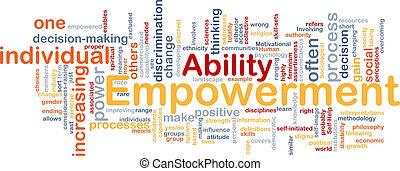 empowerment, concepto, hueso, plano de fondo