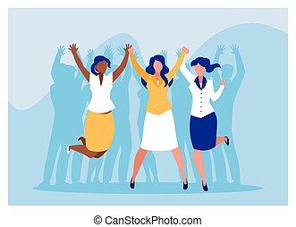 empresa / negocio, éxito, celebrar, equipo, empresarias, exitoso