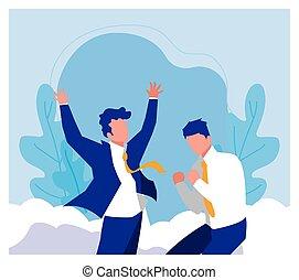 empresa / negocio, éxito, celebrar, hombres de negocios, equipo, exitoso