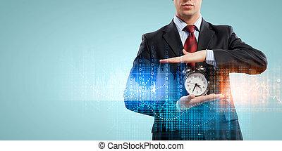 empresa / negocio, alarmclock, tenencia, hombre