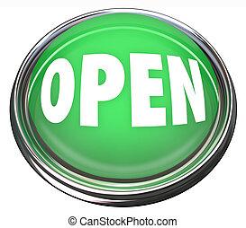 empresa / negocio, apertura, botón, redondo, comienzo, verde, prensa, abierto, o