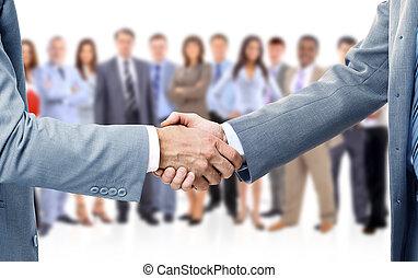 empresa / negocio, apretón de manos, aislado, plano de fondo