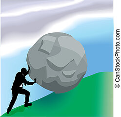 empresa / negocio, arriba, ilustración, empujar, bolder, colina, concepto