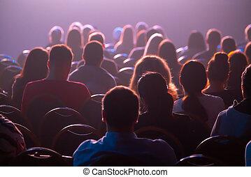 empresa / negocio, attendees, conferencia, sentarse, escuchar
