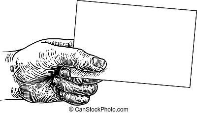 empresa / negocio, aviador, nota, tenencia de la mano, señal, tarjeta, marco