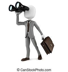 empresa / negocio, binocular, buscando, oportunidades, tenencia, hombre de negocios, hombre, 3d