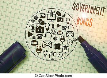 empresa / negocio, bonds., apoyo, deuda, gobierno, foto, actuación, spending., showcasing, seguridad, nota, escritura, issued